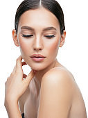 Portrait of beautiful woman with perfect skin and soft make-up