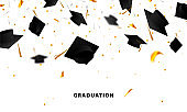 Graduate caps and confetti on a white background. Caps thrown up. Typography greeting, invitation card with diplomas, hat, lettering.
