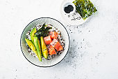 Salmon Sashimi Rice Bowl with Avocado