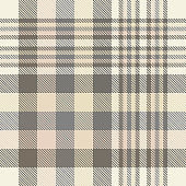 Seamless plaid check pattern in shades of cream, beige, taupe brown and gray.