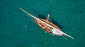 Vintage classic wooden sail boat
