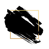 Abstract background. Black hand painted ink brush strokes with dry rough edges and geometric frame. Vector illustration