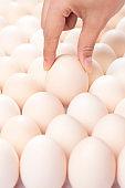 Human hand pick up egg
