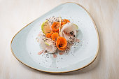 Salad of fresh radish carrot with truffles