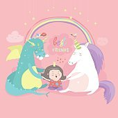 Cute cartoon dragon, unicorn and little girl