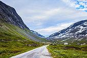 Road landscape in norwegian mountains