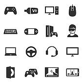 Video games, icons set. Attributes for the PC game.