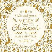 Design of Merry Christmas calligraphy with decorations. Vector.