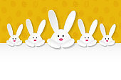 Layout of Easter banner with paper cut bunnies and copyspace. Vector.