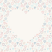 Background with frame made of hand drawn hearts. Template of card for Mother's Day, Women's Day an Valentine's Day. Vector.
