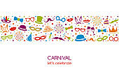 Carnival Party - banner in retro style with funny icons and greetings. Vector.