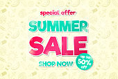 Summer Sale - shiny flyer with special offer. Vector.