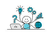 Concept of business development pictogram with funny stickman. Vector.