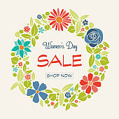 Women's Day Sale - poster with hand drawn flowers. Vector.