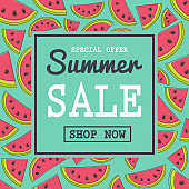 Summer Sale - colourful poster with watermelons. Vector.