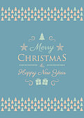 Concept of Christmas greeting card with decorative text and Christmas trees. Vector.