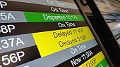 Delayed Flight Times Posted on Airport Screen