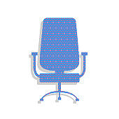Office chair sign. Vector. Neon blue icon with cyclamen polka do