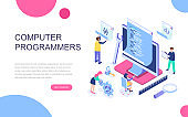 Modern flat design isometric concept of Computer Programmers for banner and website.