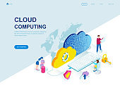 Modern flat design isometric concept of Cloud Technology decorated people character
