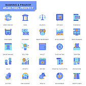 Simple Set Banking and Finance Flat Icons