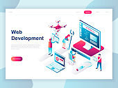 Modern flat design isometric concept of Web Development for banner and website.