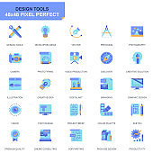 Simple Set Design Tools Flat Icons