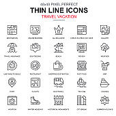 Thin line travel and tourism, for travel agencies icons set