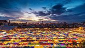 Colorful tents at night market in Bangkok, Thailand.