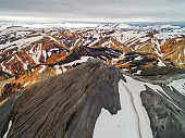Snow covered mountains at Landmannalaugar nature reserve