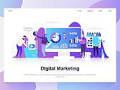 Digital marketing modern flat design concept. Landing page template.