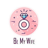 Icon with ring for engagement day. Proposal marriage. Thin line flat design. Vector card.