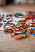 Gingerbread Christmas cookies with icing on table