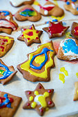 Delicious Christmas gingerbread cookies on table