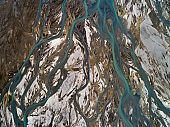 Abstract aerial of braided river in highlands of Iceland.