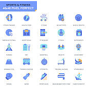 Simple Set Sport and Fitness Flat Icons