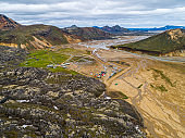 View of Landmannalaugar nature reserve camping area
