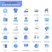Simple Set Hotel Services Flat Icons