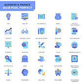Simple Set Business and Finance Flat Icons