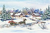 New Year winter village landscape with Santa
