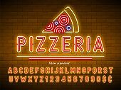 Pizzeria neon light alphabet, extra glowing font