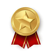 Gold medallion with star and red ribbons isolated on white background. Vector design element.
