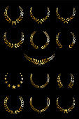 Golden laurel wreaths isolated on black background. Vector design elements.