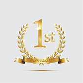 1 anniversary golden symbol. Golden laurel wreaths with ribbons and first anniversary year symbol on light background. Vector anniversary design element.