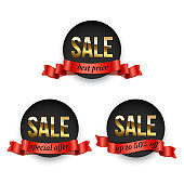 Set of round black badges with golden Sale word decorated with red ribbon isolated on white background. Vector promotion design elements.