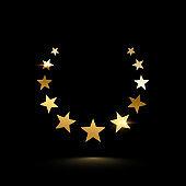 Golden shiny frame made of stars isolated on black background. Vector design element.