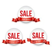 Set of round badges with Sale word decorated with red ribbon isolated on white background. Vector promotion design elements.