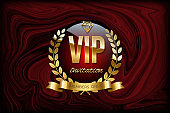 VIP invitation design template. Vector golden ribbon, laurel wreath and VIP invitation text on red marble or liquid texture.