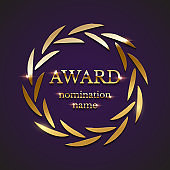 Golden award sign with circle laurel wreath isolated on purple background. Vector illustration.