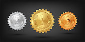Gold, silver and bronze medals isolated on black background. Vector design elements.